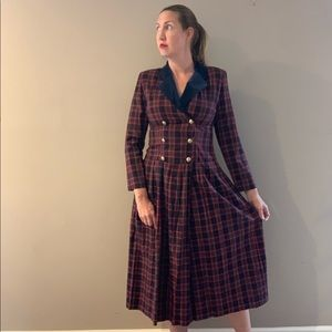 Vintage 80s Lanz Plaid Double Breasted Midi Dress